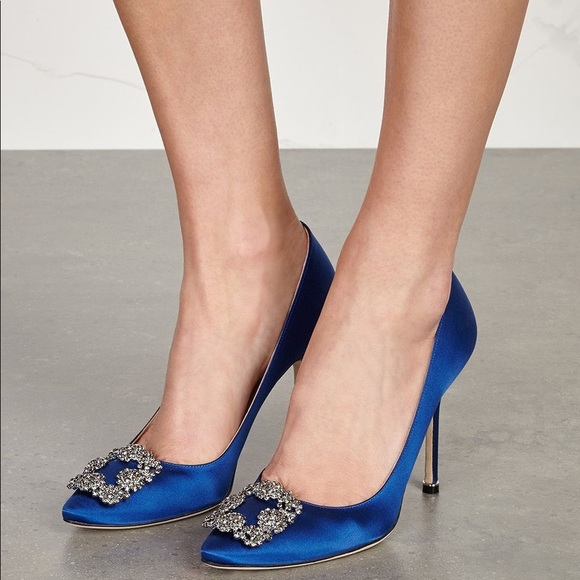 379e38503 Manolo Blahnik Shoes | Hangisi 105 Royal Blue Satin Pumps | Poshmark